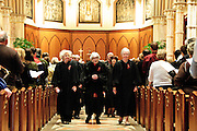 """Illinois Supreme Court Justices (L to R) Anne M. Burke, Mary Ann G. McMorrow (retired) and  Mary Jane Theis lead a procession of fellow judges, law school professors and members of the Catholic Lawyers Guild during the 78th Annual Votive Mass of the Holy Spirit, or """"Red Mass"""" at Holy Name Cathedral in Chicago. September 30, 2012 l Brian J. Morowczynski~ViaPhotos..For use in a single edition of Catholic New World Publications, Archdiocese of Chicago. Further use and/or distribution may be negotiated separately. Contact ViaPhotos at 708-602-0449 or email brian@viaphotos.com."""