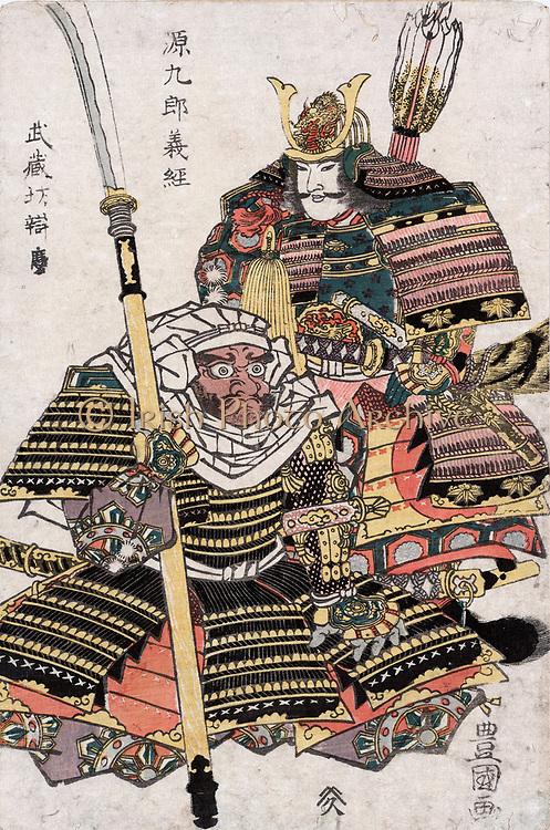 Samurai warriors Genkuro Yoshitsune and Musashibo Benkei in full armour: Print c1810. Utagawa Toyokuni III (1786-1865) also called Utagawa Kunisada.  Weapon Lance Pike Arrow Sword