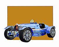 Stare at this digital painting of the Bugatti Phoenix for as long as you please. The longer you stare at it, the more likely it is that you're going to want to take it for a test drive. The bold colors and design of this vintage automobile ensure a powerful rush of dreams and memories. .<br />