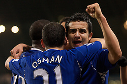 MANCHESTER, ENGLAND - Monday, February 25, 2008: Everton's Tim Cahill is congratulated team-mates for creating the opening goal against Manchester City during the Premiership match at the City of Manchester Stadium. (Photo by David Rawcliffe/Propaganda)