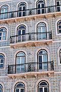 Lisbon, November 2012. Traditional portuguese glazed tile facade with balconies at Bairro Alto district