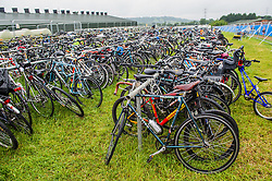 The bicycle park for those who are encouraged to arrive by bike.  The 2015 Glastonbury Festival, Worthy Farm, Glastonbury.