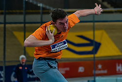Lars van Vught in action on the shot put during the all-around at the Dutch Athletics Championships on 13 February 2021 in Apeldoorn