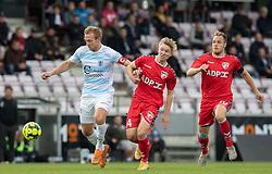 Jonas Henriksen (FC Helsingør) og Christian Tue Jensen (FC Fredericia) under kampen i 1. Division mellem FC Fredericia og FC Helsingør den 4. oktober 2020 på Monjasa Park i Fredericia (Foto: Claus Birch).