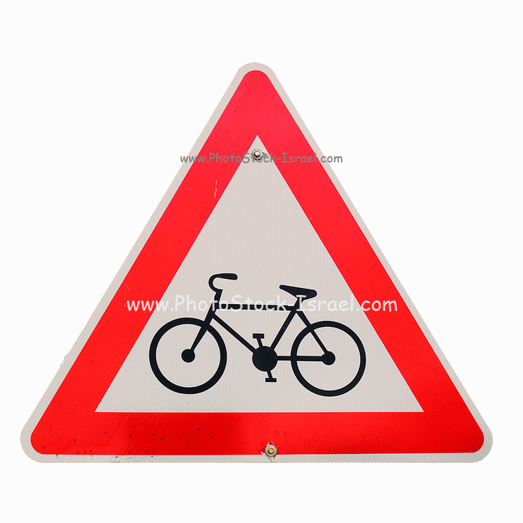 Israel, Bicycle caution road sign on white background