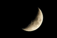 Waxing Crescent Moon. Image taken with Nikon D3s and 400 mm f/2.8 lens with TC-E 2.0 teleconverter (ISO 200, 800 mm f/8, 1/100 sec)