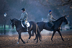 © Licensed to London News Pictures. 22/01/2021. London, UK. Steam rises from horses as they are exercised by members of the Household Cavalry in Hyde Park, central London on a cold and frosty winter morning. Parts of the UK are currently experiencing heavy flooding caused by heavy rainfall during storm Christoph.  Photo credit: Ben Cawthra/LNP