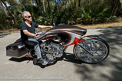 Cory Ness riding his side-by-side twin engine custom in Tamoka State Park during the Daytona Bike Week 75th Anniversary event. FL, USA. Monday March 7, 2016.  Photography ©2016 Michael Lichter.