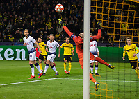 Football - 2018 / 2019 UEFA Champions League - Round of Sixteen, Second Leg: Borussia Dortmund (0) vs. Tottenham Hotspur (3)<br /> <br /> Mario Gotze (Borussia Dortmund) watches as Hugo Lloris (Tottenham FC) gets finger tips to his curling shot at Signal Iduna Park (Westfalenstadion).<br /> <br /> COLORSPORT/DANIEL BEARHAM