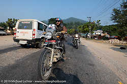 Talk Shop Podcaster Danger Dan riding a Royal Enfield Himalayan in Motorcycle Sherpa's Ride to the Heavens motorcycle adventure in the Himalayas of Nepal. Riding from Chitwan to Daman. Tuesday, November 12, 2019. Photography ©2019 Michael Lichter.