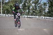 #107 (TIMIS BRIONES Martina Paz) CHI during practice at round 1 of the 2018 UCI BMX Supercross World Cup in Santiago del Estero, Argentina.
