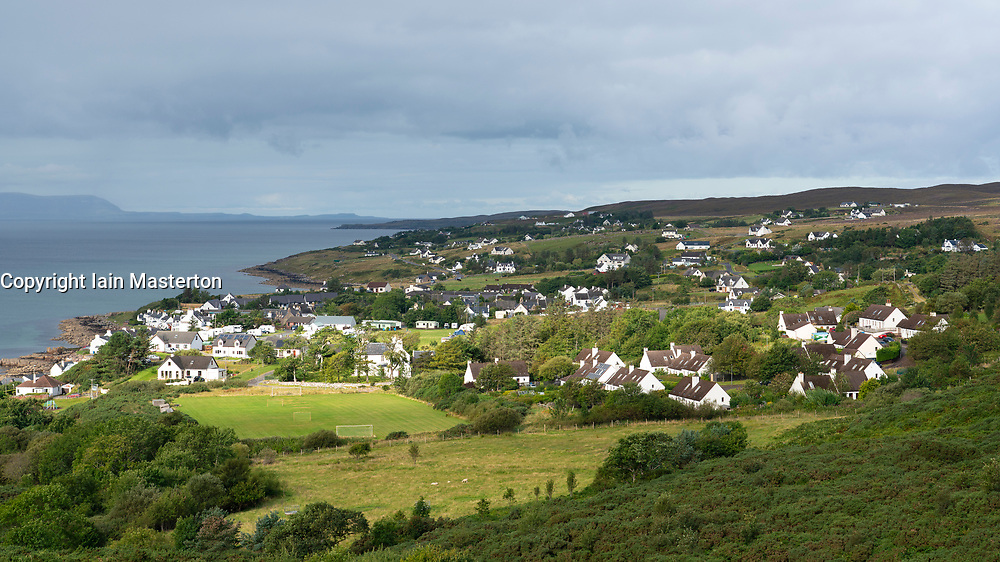 View of houses in Gairloch village , Wester Ross, Scotland, UK