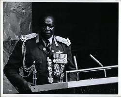 Oct. 10, 1975 - General Assembly Addressed By President Amin Dada Of Uganda: The General Assembly this afternoon heard an address by President Idi Amin Dada, President of Uganda and current Chairman of the Organisation of African Unity. Prior to the address, the Assembly continued its general debate, hearing statements by Guyana and Mauritania. President Amin Dada addressing the Assembly. (Credit Image: © Keystone Press Agency/Keystone USA via ZUMAPRESS.com)