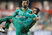 Pakistan's Shoaib Malik carries off the injured Babar Azam to save time during the International T20 match between England and Pakistan at the Emirates, Old Trafford, Manchester, United Kingdom on 7 September 2016. Photo by Craig Galloway.