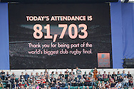 Picture by Andrew Tobin/Focus Images Ltd +44 7710 761829.25/05/2013. Record attendance at Twickenham for the Aviva Premiership match at Twickenham Stadium, Twickenham.