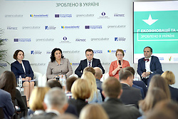 October 2, 2018 - Kyiv, Ukraine - Vice Prime Minister of Ukraine for European and Euro-Atlantic Integration Ivanna Klympush-Tsyntsadze, associate director of the Energy Efficiency and Climate Change Department of the EBRD Ukraine Serhii Maslichenko and head of the Konrad Adenauer Foundation Ukraine Gabriele Baumann (L to R, middle) attend the Ecoinnovations and Green Business: Made in Ukraine Forum in Kyiv, capital of Ukraine, October 2, 2018. Ukrinform. (Credit Image: © Sergiy Anishchenko/Ukrinform via ZUMA Wire)