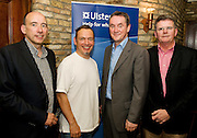 """19/7/2011. Bobby Bergin, Ulster Bank, Chris Myles, Propeller, John Crumlish Galway Arts Festival and Brendan McDermott  Ulster Bank, in McSwiggans for the pre show reception of Propellors """"Comedy of Errors"""" by Shakspeare in the Galway Arts Festival, sponsored by Ulster Bank. Photo:Andrew Downes"""