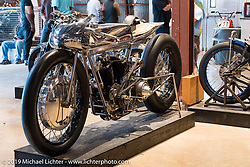 Max Hazan's Harley-Davidson Ironhead supercharged Sportster on Saturday at the Handbuilt Motorcycle Show. Austin, TX. April 11, 2015.  Photography ©2015 Michael Lichter.
