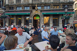 BRUSSELS, BELGIUM - JUNE-12-2006 - Crowded terrace at the famous cafe Le Roy d'Espagne on the Grand Place in Brussels. (PHOTO © JOCK FISTICK)