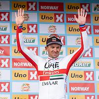 Edvald Boasson Hagen vant i Kristiansand under Tour of Norway sykkelritt etappe 2: Lyngdal - Kristiansand. Her Alexsander Kristoff.