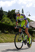 France, Talloire, 23 July 2009: Aleksandr Kuschynski (Blr) Liquigas on the Côte de Bluffy climb during Stage 18 - a 40.5 km Annecy to Annecy individual time trial. Photo by Peter Horrell / http://peterhorrell.com .