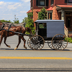 Intercourse, PA, USA - June 21, 2017: An Amish buggy is used for daily transportation in the rural village in Lancaster County.