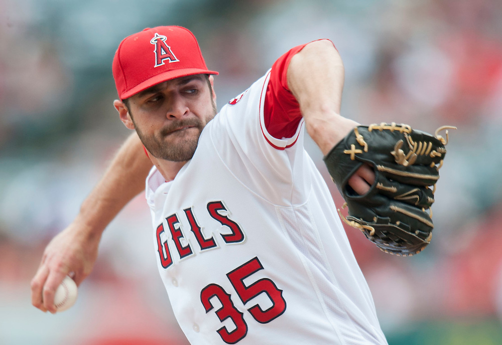 Angels starter Nick Tropeano pitches against the Houston Astros during their game Sunday at Angel Stadium. <br /> <br />  //ADDITIONAL INFO:   <br /> <br /> angels.0530.kjs  ---  Photo by KEVIN SULLIVAN / Orange County Register  -- 5/29/16<br /> <br /> The Los Angeles Angels take on the Houston Astros Sunday at Angel Stadium.