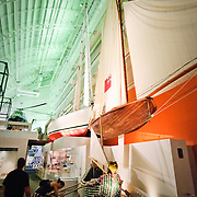 Display of sailing boats inside the Australian National Maritime Museum in Sydney