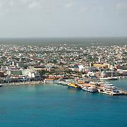 Aerial view of Cozumel port. Quintana Roo, Mexico.
