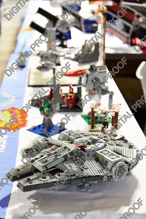 Milan, Italy - March 8 2019 Cartoomics Comic Con Star Wars Halcon Millenium made with Lego