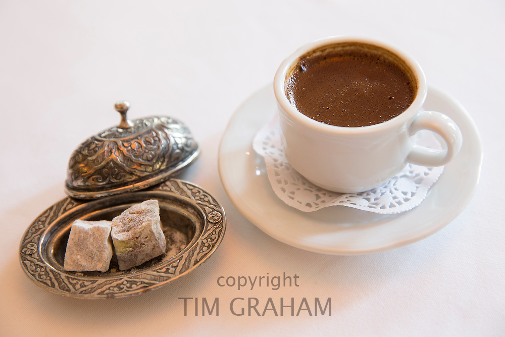 Turkish coffee and lokum, Turkish delight sweets, in Restaurant Asitane in the area of Kariye, Edirnekapi in Istanbul