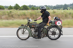 Kyle Rose of Utah rides his 1916 Excelsior during the Motorcycle Cannonball Race of the Century. Stage-6 from Cape Girardeau, MO to Springfield, MO. USA. Thursday September 15, 2016. Photography ©2016 Michael Lichter.