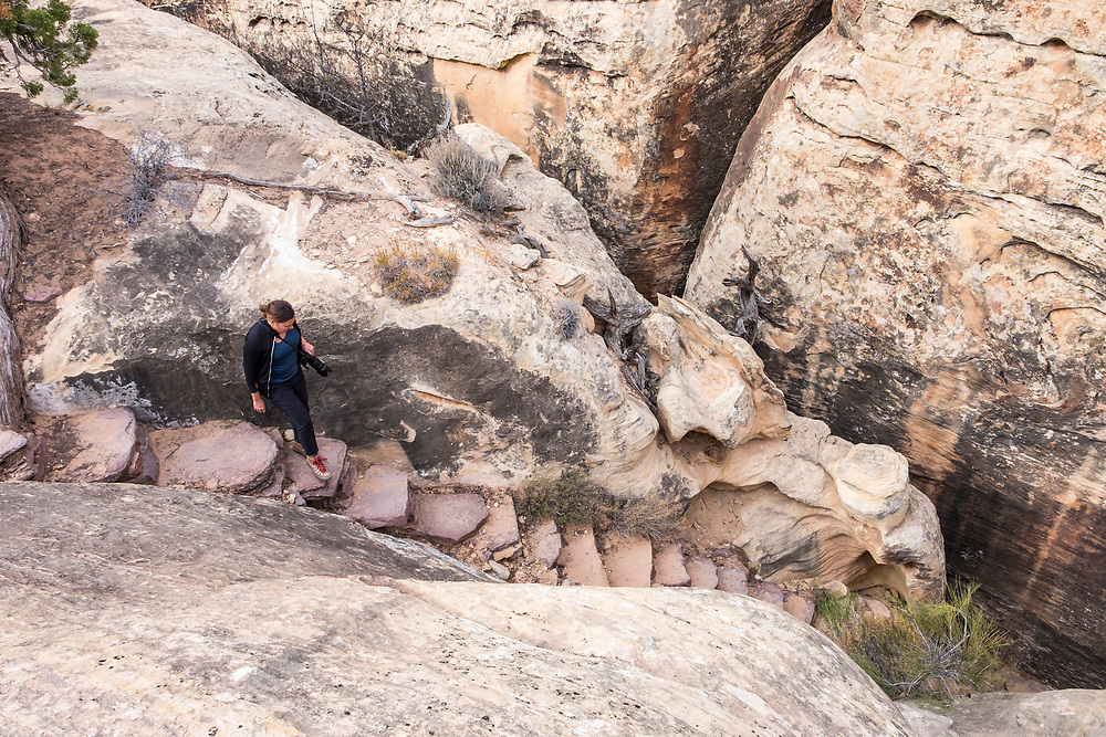 """The famous Joint Trail near Chesler Park starts with a descent into the """"joint"""" between two huge slabs of rock."""