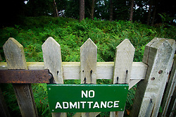 No admittance sign on a wooden gate, Bradgate Country Park, Leicestershire, England, UK.