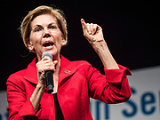10 AUGUST 2019 - DES MOINES, IOWA: Senator ELIZABETH WARREN, (D-MA), a Democratic Presidential candidate, answers questions from gun violence survivors at the Presidential Gun Sense Forum. Several thousand people from as far away as Milwaukee, WI, and Chicago, came to Des Moines Saturday for the Presidential Gun Sense Forum. Most of the Democratic candidates for president attended the event, which was organized by Moms Demand Action, Every Town for Gun Safety, and Students Demand Action.          PHOTO BY JACK KURTZ