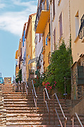 Steep street with stairs. Banyuls sur Mer, Roussillon, France