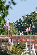 Henley-On-Thames, Berkshire, UK., Saturday,  08/08/2020,  Two Union Jacks and England Flag, flying over Riverside properties at H-O-T., RiverThames, Thames Valley, [ Mandatory Credit © Peter Spurrier/Intersport Images],