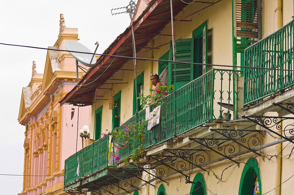 Woman on a balcony, Casco Viejo (the Old City), San Felipe district, Panama City, Panama