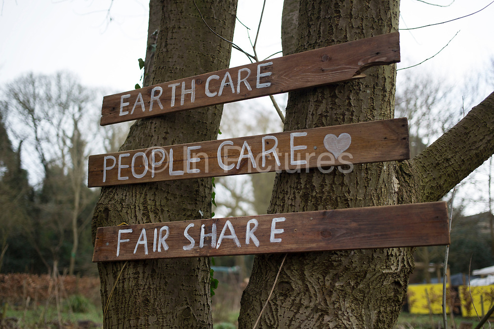 Positive sign for the environment at allotments in Highgate Park in Birmingham, England, United Kingdom.