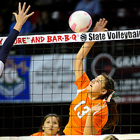 111413  Adron Gardner/Independent<br /> <br /> Wingate Bear Gerilyn Antonio (13) spikes to the Ruidoso Warriors during the state volleyball tournament at the Santa Ana Star Center in Rio Rancho Thursday.