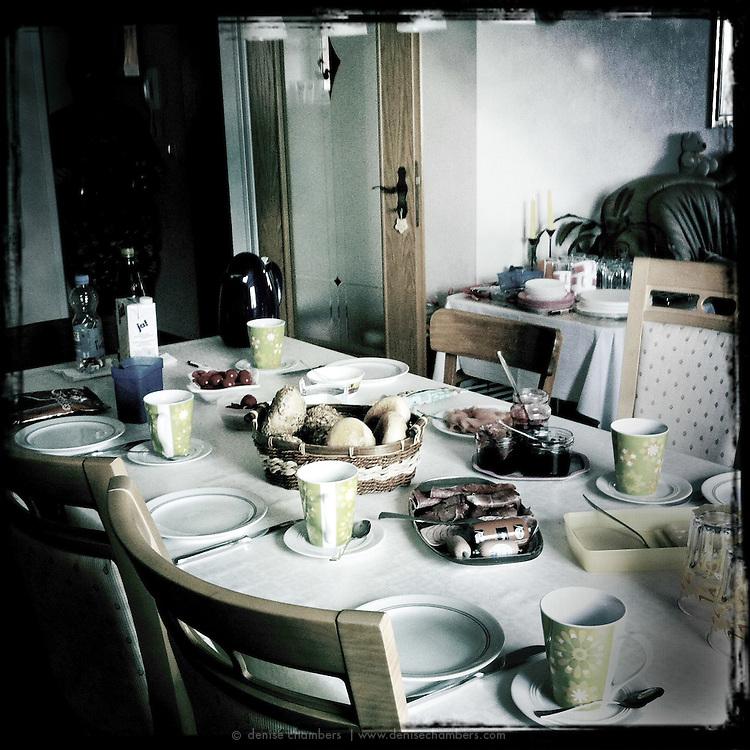 Table set for breakfast.