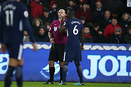 referee Bob Madley talks to Davinson Sanchez of Tottenham Hotspur after he fouls Martin Olsson of Swansea city, and the Tottenham defender escapes a booking despite already on a yellow card earlier in the match.Premier league match, Swansea city v Tottenham Hotspur at the Liberty Stadium in Swansea, South Wales on Tuesday 2nd January 2018. <br /> pic by  Andrew Orchard, Andrew Orchard sports photography.