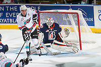 KELOWNA, CANADA - MARCH 26: Connor Ingram #39 of Kamloops Blazers makes a save against the Kelowna Rockets on March 26, 2016 at Prospera Place in Kelowna, British Columbia, Canada.  (Photo by Marissa Baecker/Shoot the Breeze)  *** Local Caption *** Connor Ingram;