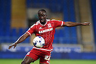 Albert Adomah of Middlesbrough in action. Skybet football league championship match, Cardiff city v Middlesbrough at the Cardiff city Stadium in Cardiff, South Wales  on Tuesday 20th October 2015.<br /> pic by  Andrew Orchard, Andrew Orchard sports photography.