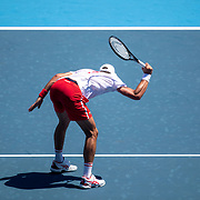 TOKYO, JAPAN - JULY 22: Novak Djokovic of Serbia smashes his racquet while practicing on Centre Court at Ariake Tennis Park in preparation for the Tokyo 2020 Olympic Games on July 22, 2021 in Tokyo, Japan. (Photo by Tim Clayton/Corbis via Getty Images)
