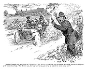 "Sporting constable (with stop-watch—on ""police trap"" duty, running excitedly out from his ambush, to motorist just nearing the finish of the measured furlong). ""For 'evin's sake, guv'nor, let 'er rip, and ye'll do the 220 in seven and a 'arf!"""