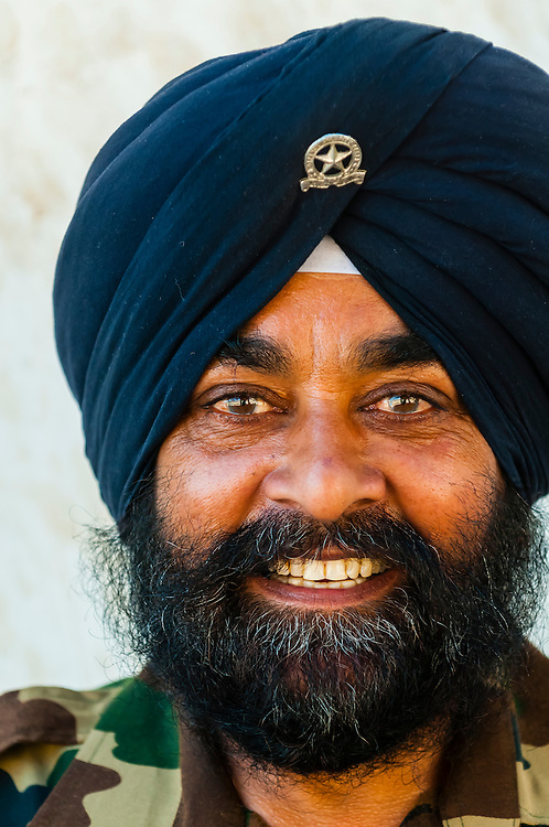 Indian Army soldier wearing a turban, Spituk Monastery, Leh, Ladakh, Jammu and Kashmir State, India.