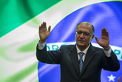 August 17, 2017 - Sao Paulo, Sao Paulo, Brazil - Aug, 2017 - Sao Paulo, Sao Paulo, Brazil - The governor of the state of São Paulo, GERALDO ALCKMIN (photo), prays during the opening of a Christian fair in the city of São Paulo, together with the mayor of the city of São Paulo, JOAO DORIA. Both are experiencing a turbulent moment in the race for the vacancy in the presidential candidacy by the political party in 2018. (Credit Image: © Marcelo Chello/CJPress via ZUMA Wire)