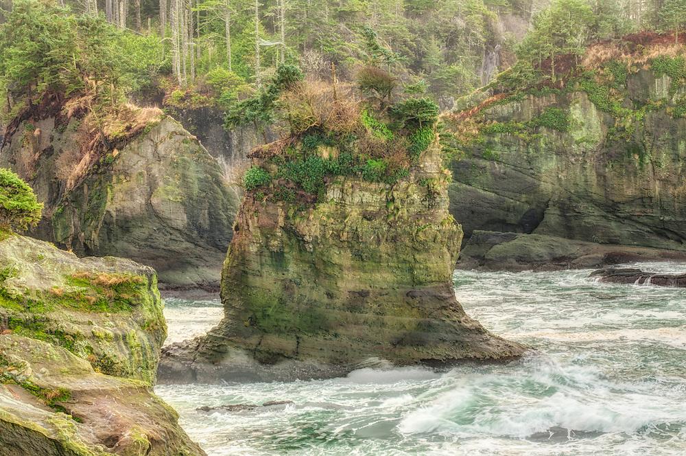 The rocky coastline of Cape Flattery is located at the most extreme northwestern corner of the contiguous United States. Millennia of pounding waves, tides and erosion have sculpted the landscape into something from a fairytale.