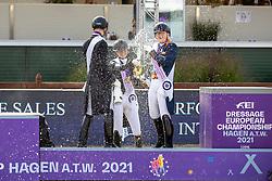 Rothenberger Semmieke, GER, Netz Raphael, GER, Poelman Jessica, NED<br /> European Championship Dressage - Hagen 2021<br /> © Hippo Foto - Dirk Caremans<br /> 12/09/2021